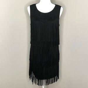 NWT Anthropologie Black Faux Suede Fringe Dress